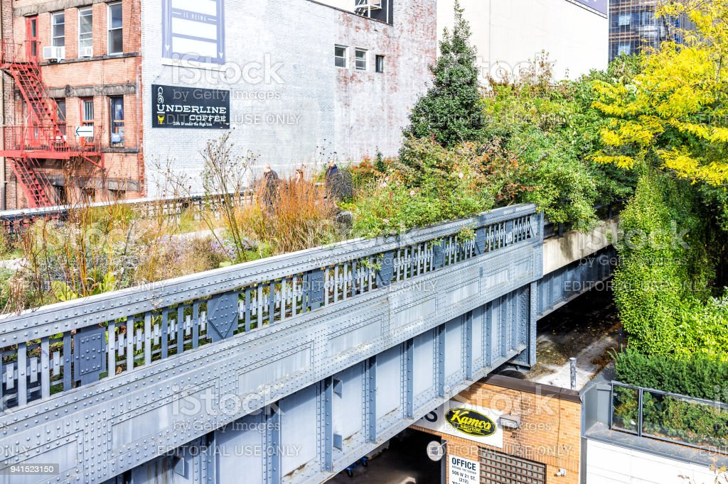 Highline, High Line, Urban Garden In NYC With Underline Coffee Cafe Sign In  Chelsea