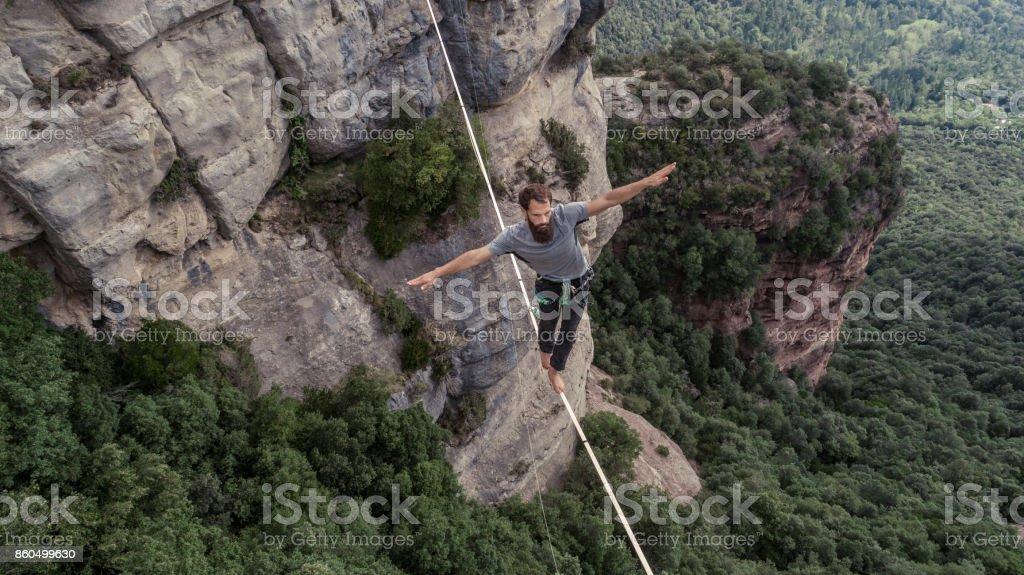 Highlining in the mountains of Tavertet Catalonia stock photo