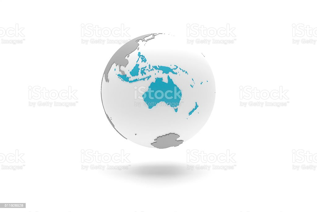 Highly detailed 3D planet Earth globe, Oceania stock photo