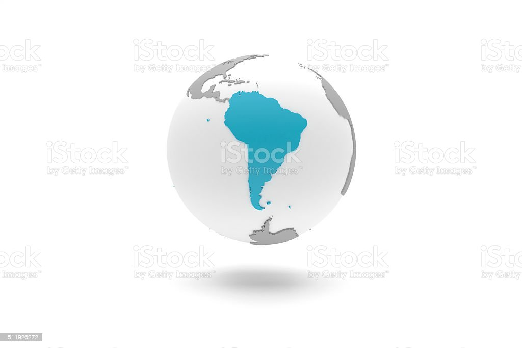 Highly detailed 3D planet Earth globe, South America stock photo