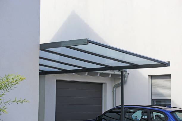 High-quality carport made of aluminum stock photo