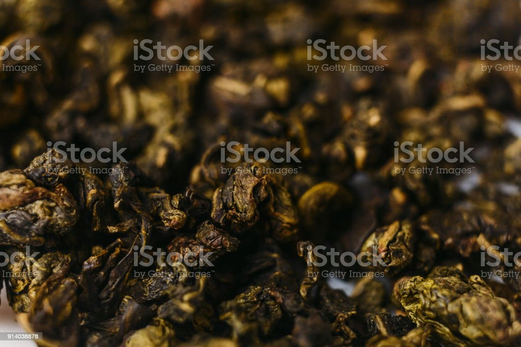 high-quality green tea, macro stock photo
