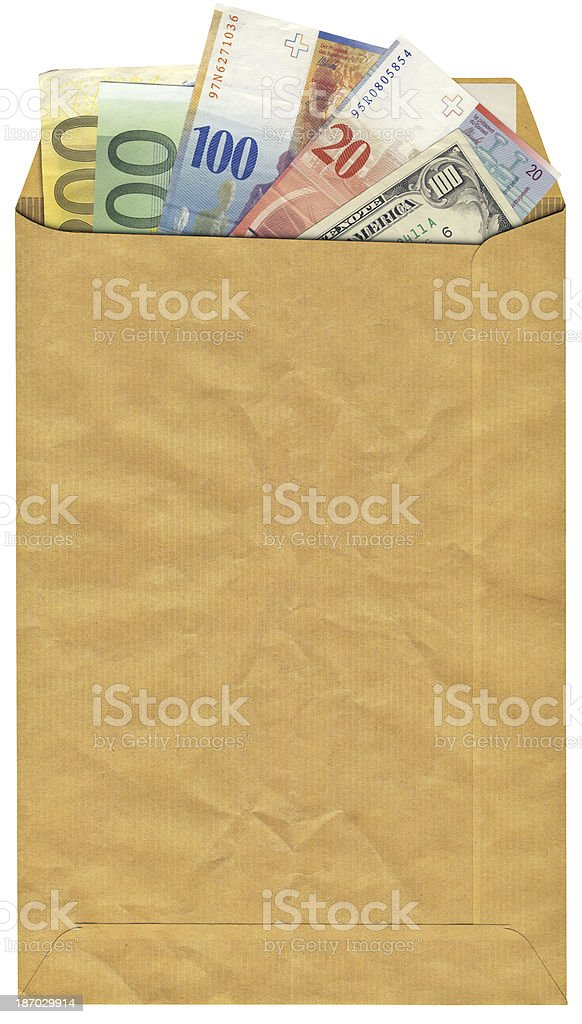 High-resolution Brown Envelope with Swiss Franks Dollars and Euro Banknotes royalty-free stock photo