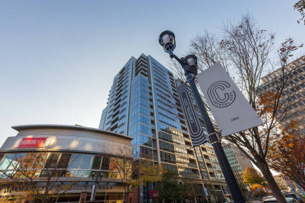 High-rise apartment building and neighborhood bar next to the future site of Amazon HQ2 in Crystal City / Arlington, Virginia stock photo