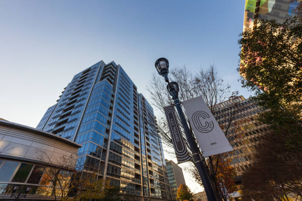 High-rise apartment building next to the future site of Amazon HQ2 in Crystal City / Arlington, Virginia stock photo