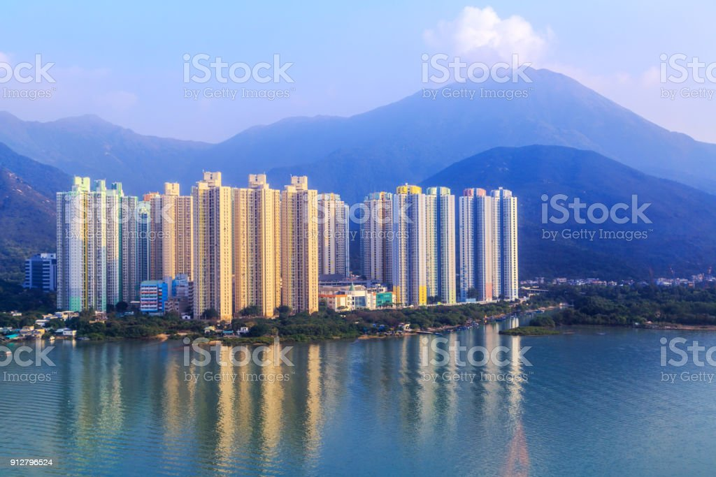 high-rise apartment buildings, view from Ngong Ping 360 cable car. stock photo