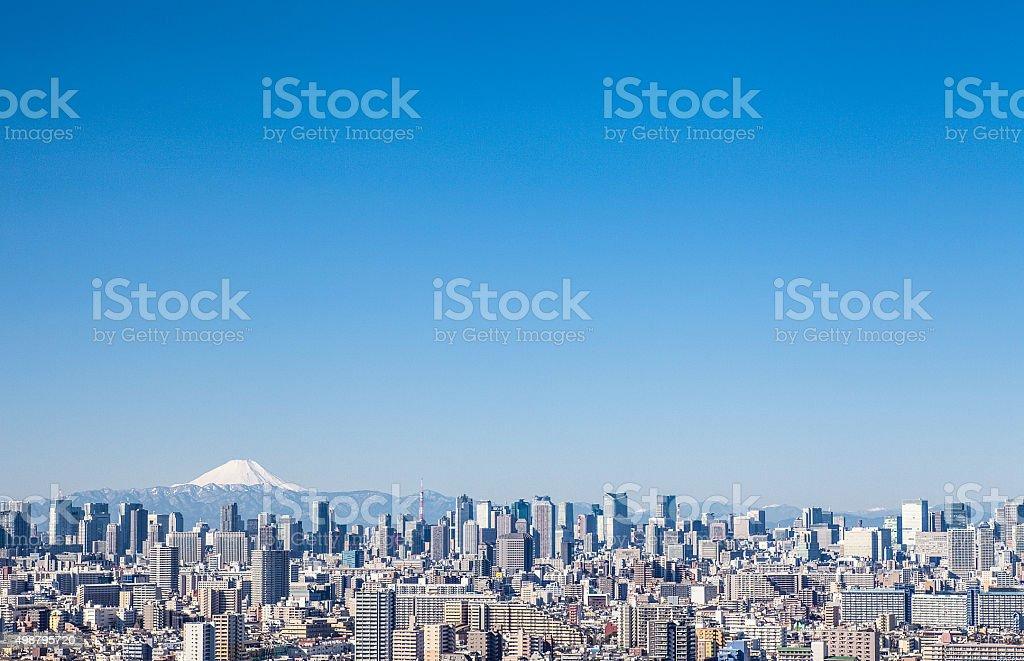 Del edificio y el monte Fuji - foto de stock