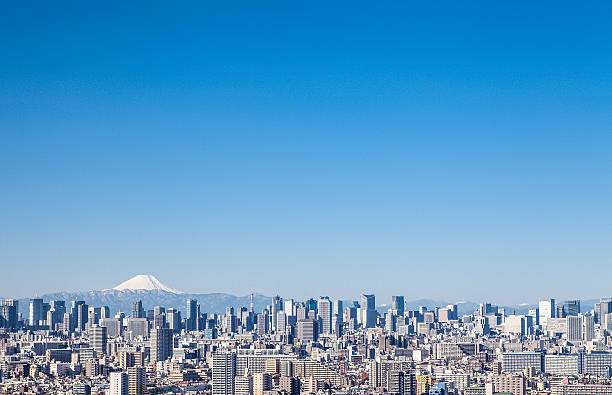 High-rise building and Mount Fuji stock photo