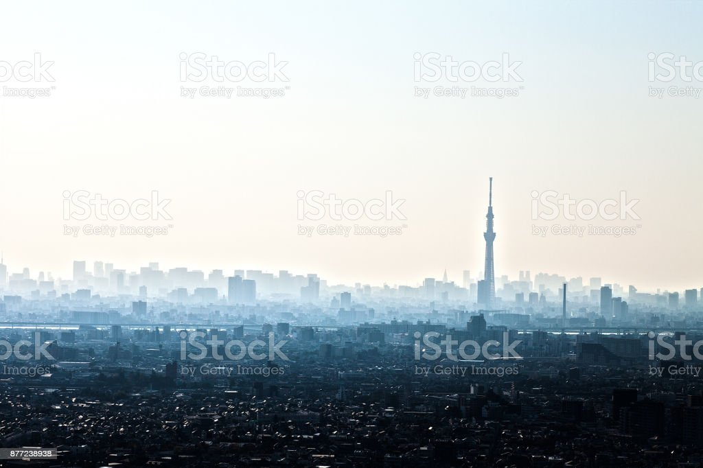高層ビルと東京スカイツリー ストックフォト
