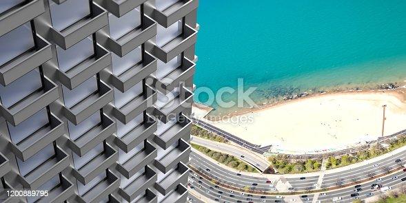 585292106 istock photo Highrise building facade detail, real estate development. 3d illustration 1200889795