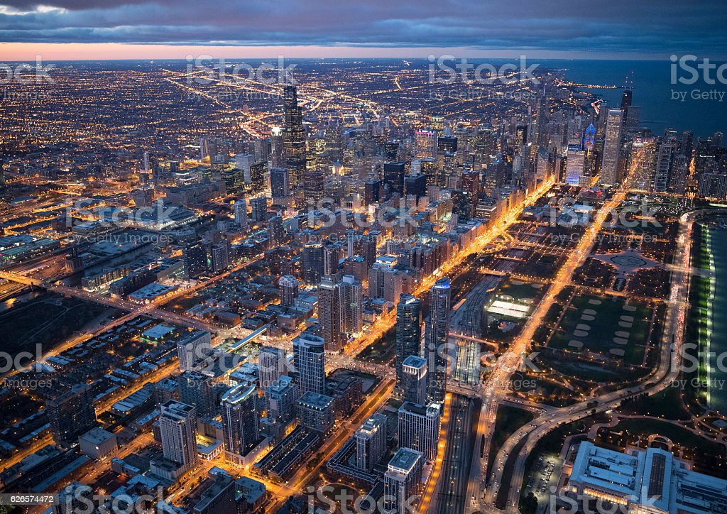 High-rise building in Chicago seen from above stock photo