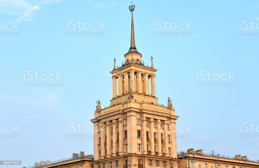 High-rise building in the neoclassical style in St.Petersburg. stock photo