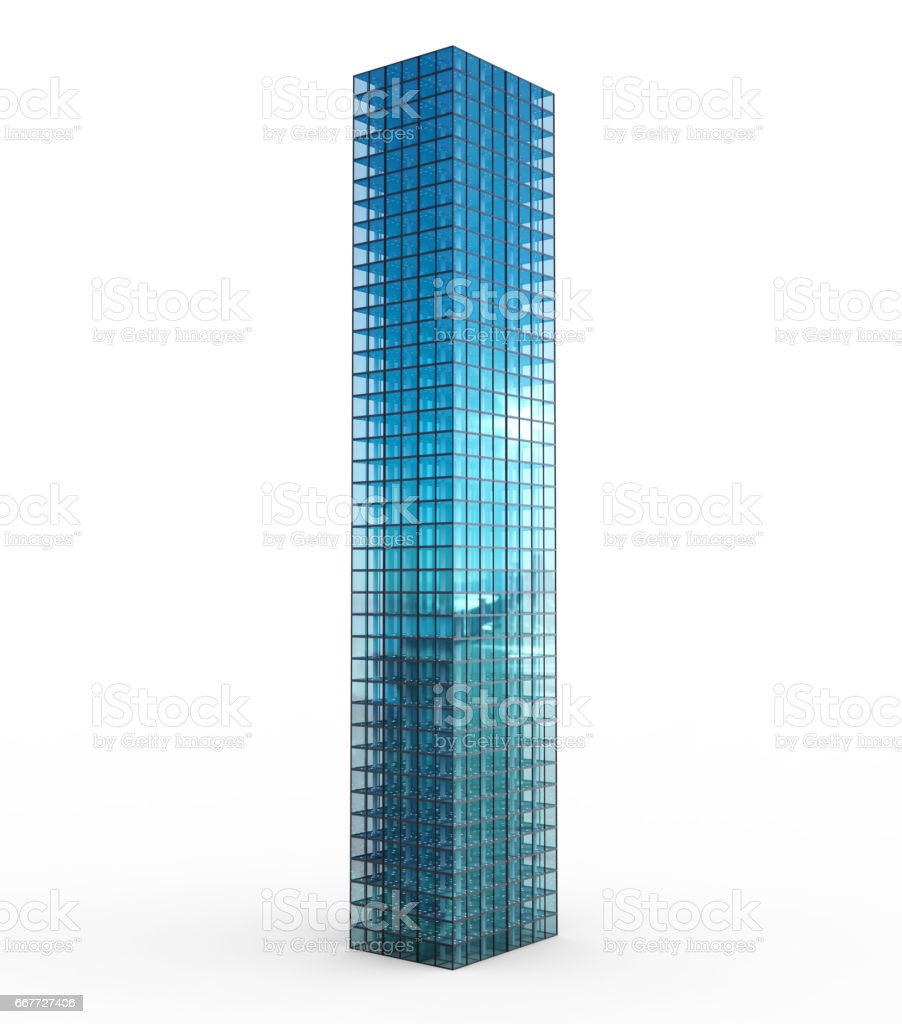 highrise building isolated on white stock photo
