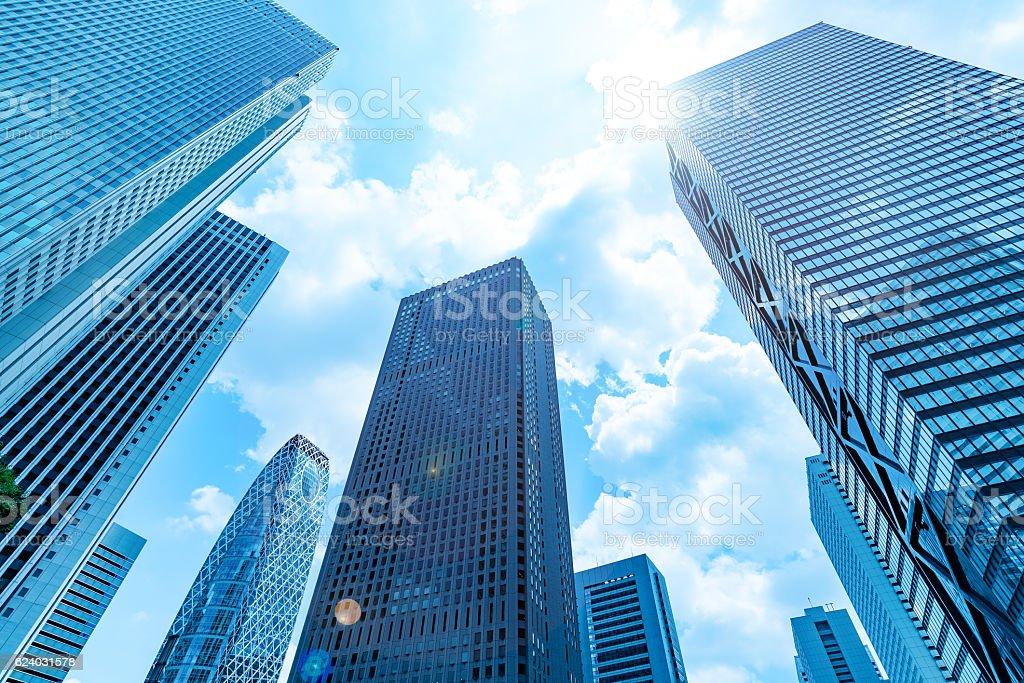 High-rise buildings and blue sky - Shinjuku, Tokyo, Japan royalty-free stock photo