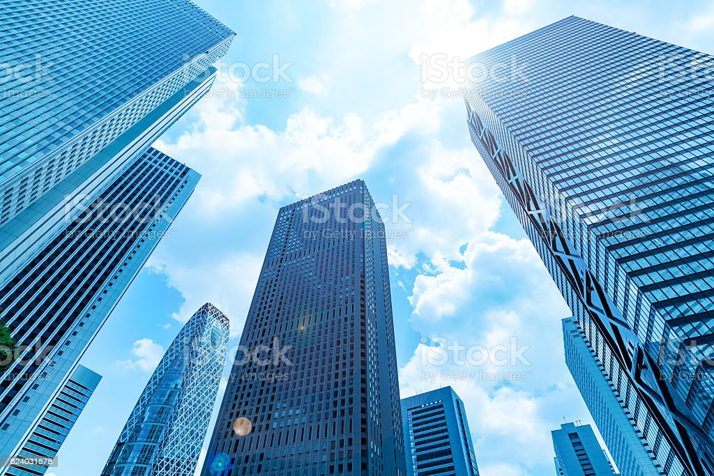 High-rise buildings and blue sky - Shinjuku, Tokyo, Japan stock photo