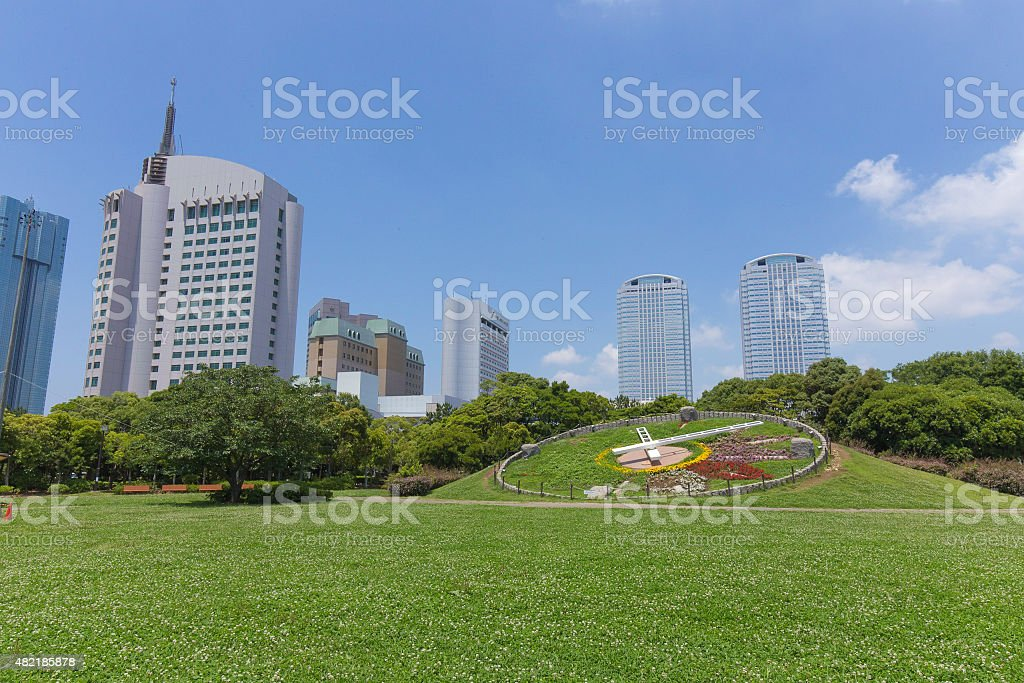 High-rise buildings and the fresh green of the park stock photo
