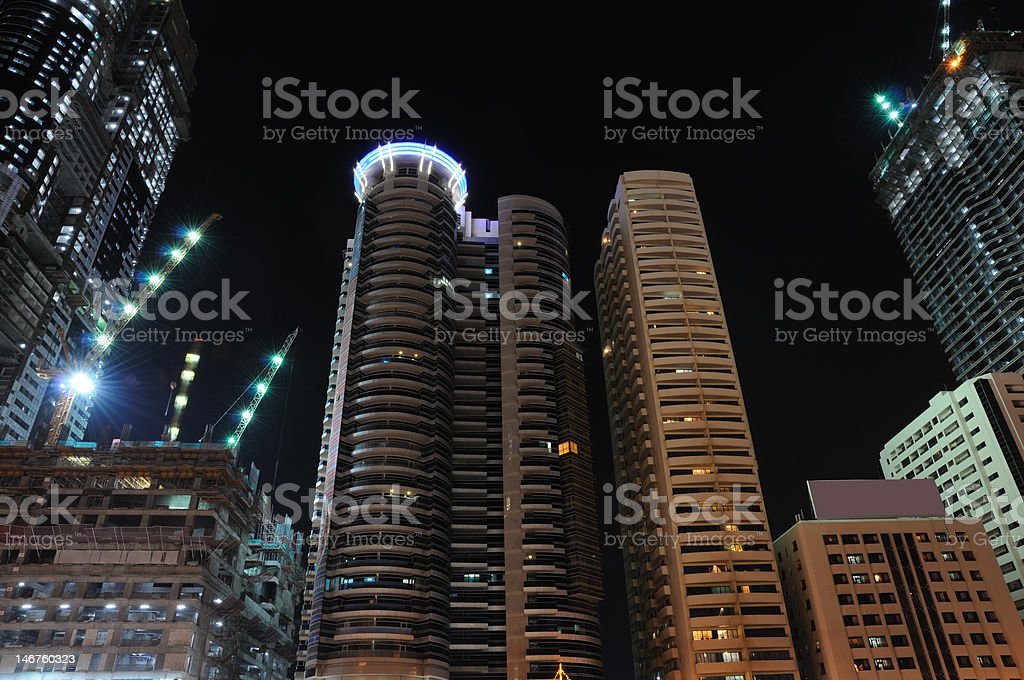 Highrise buildings in Dubai city royalty-free stock photo