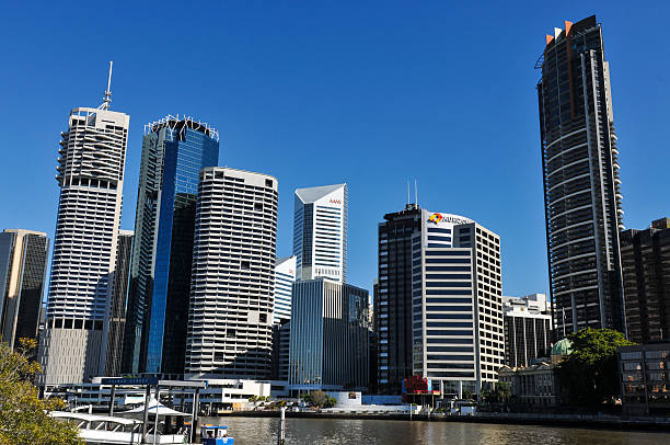 High-rise buildings in the central business district of Brisbane stock photo
