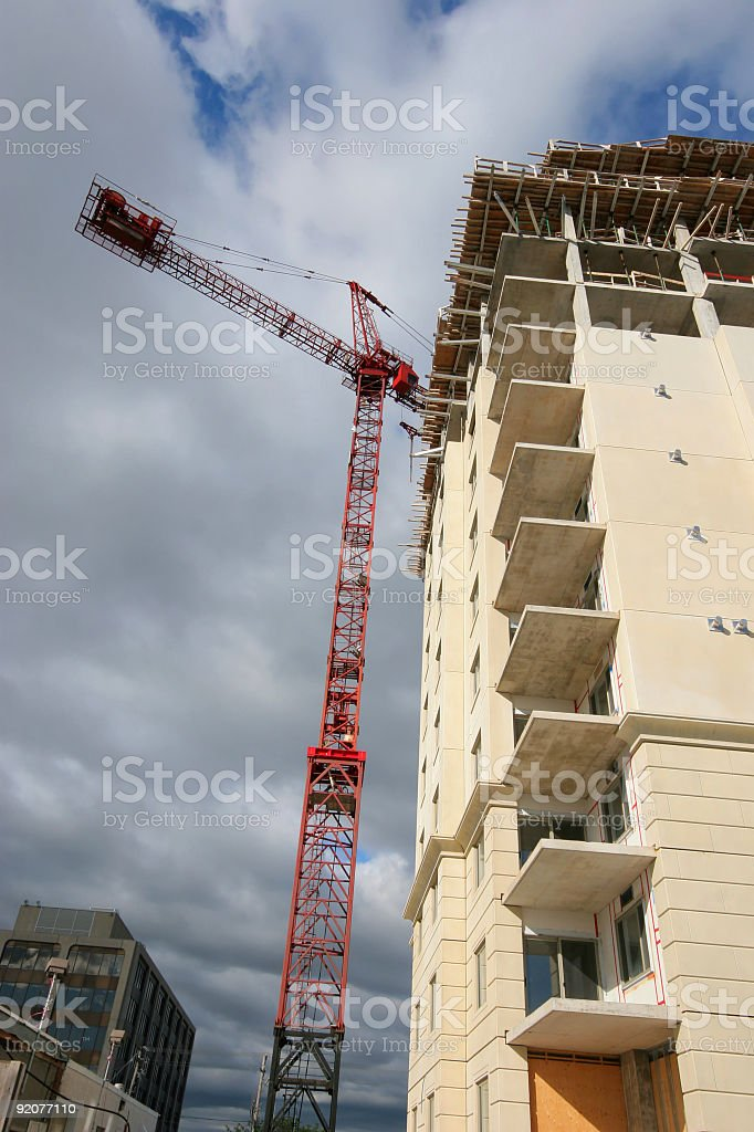 Highrise Construction Crane stock photo