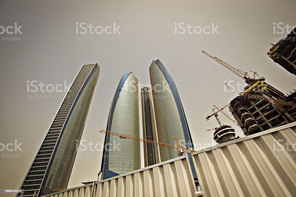 highrise construction site in the desert royalty-free stock photo
