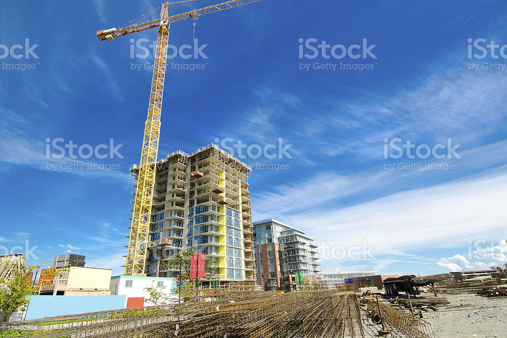 Highrise Construction Site with Rebars royalty-free stock photo