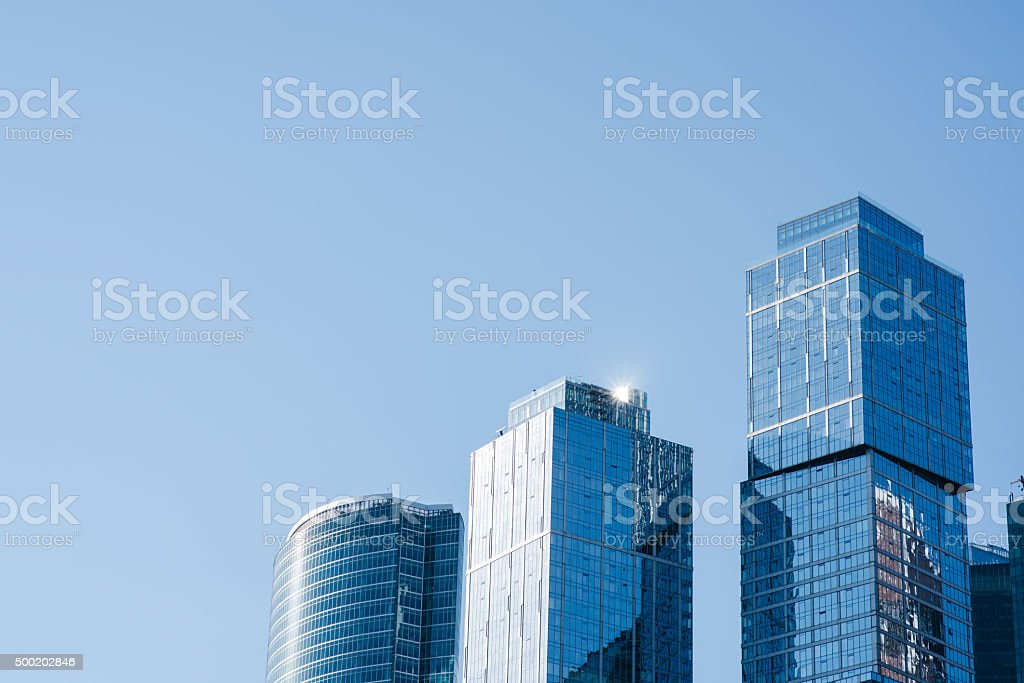 High-rise new towers in metropolis stock photo