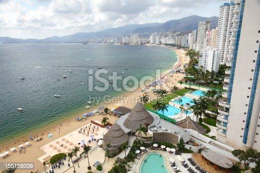 Aerial shot of oceanfront highrise condominiums in Acapulco, Mexico