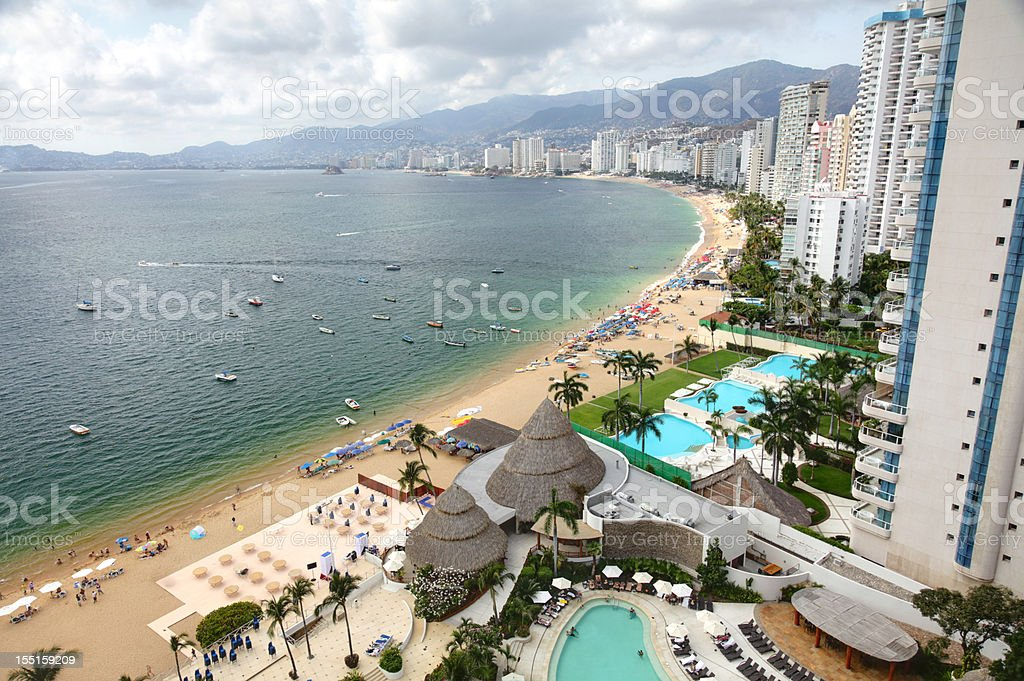 High-rise view of Acapulco bay stock photo