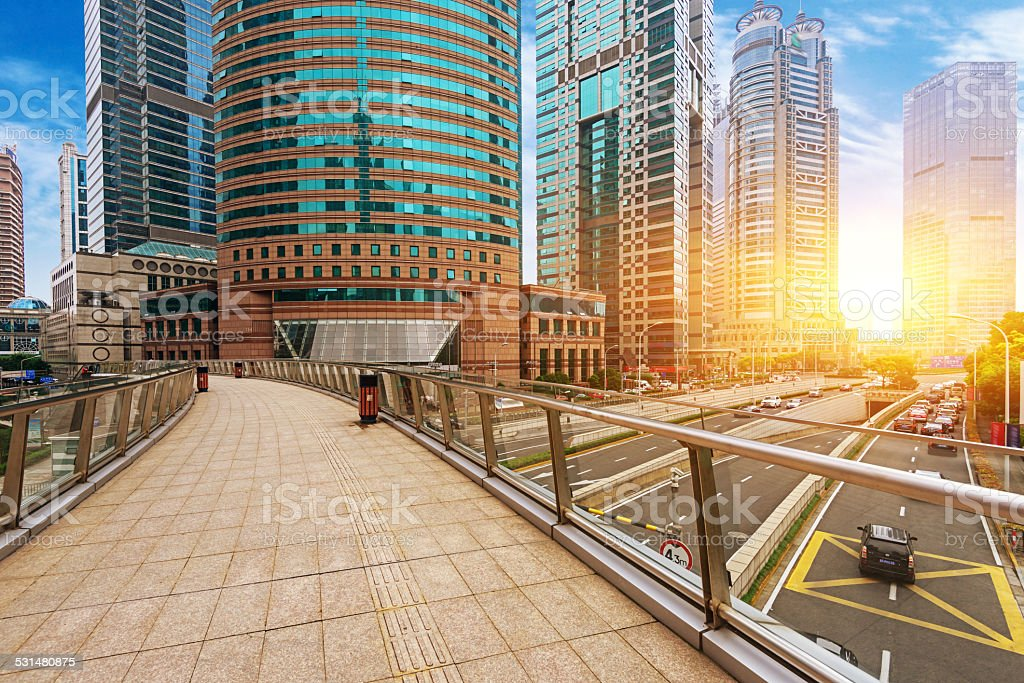 High-rises in Shanghai's new Pudong banking and business distric stock photo