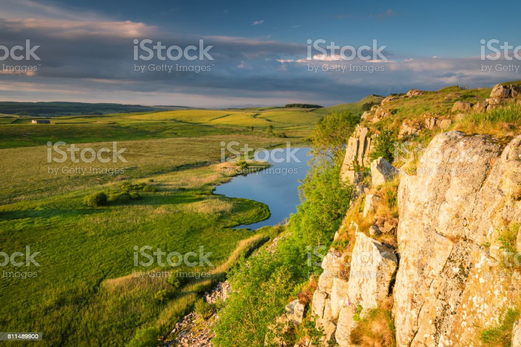 Highshield Crags above Crag Lough stock photo