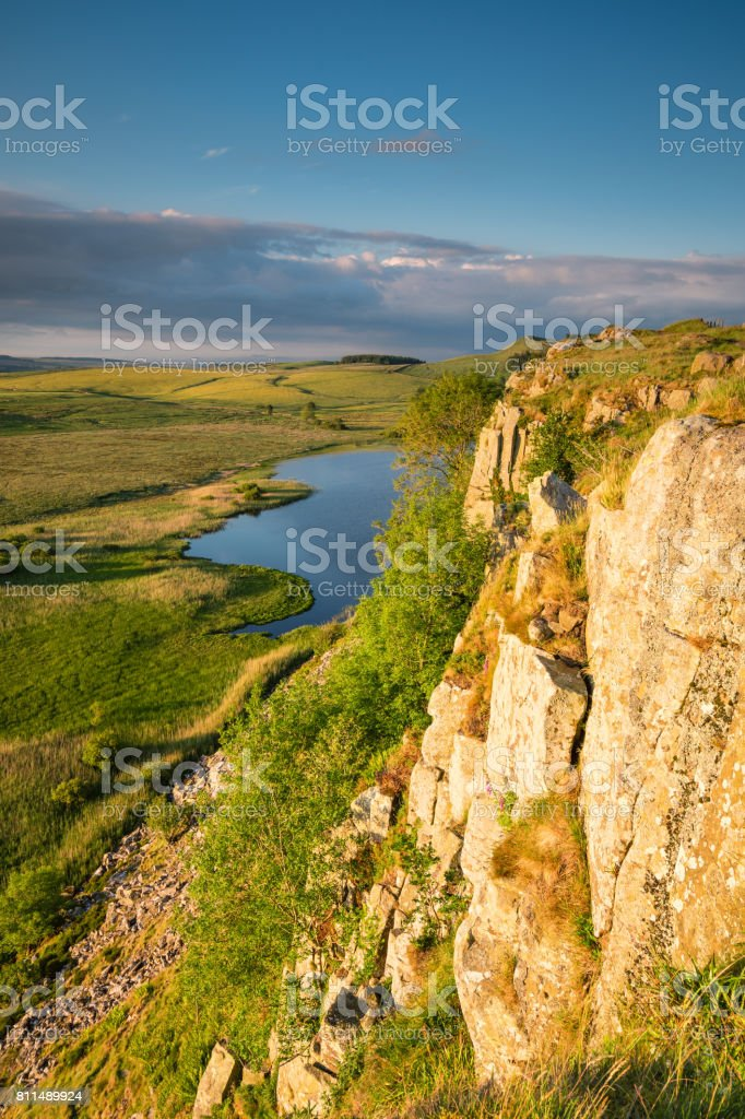 Highshield Crags below Hadrian's Wall stock photo
