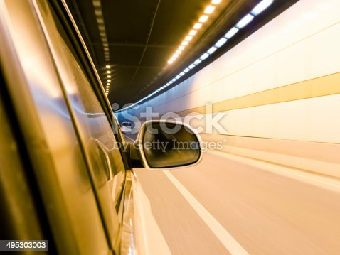 istock High-speed car in the tunnel, Motion Blur 495303003