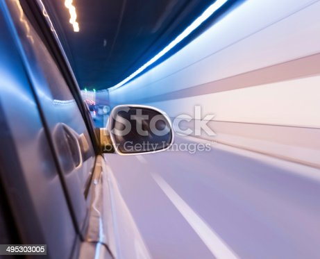 istock High-speed car in the tunnel, Motion Blur 495303005