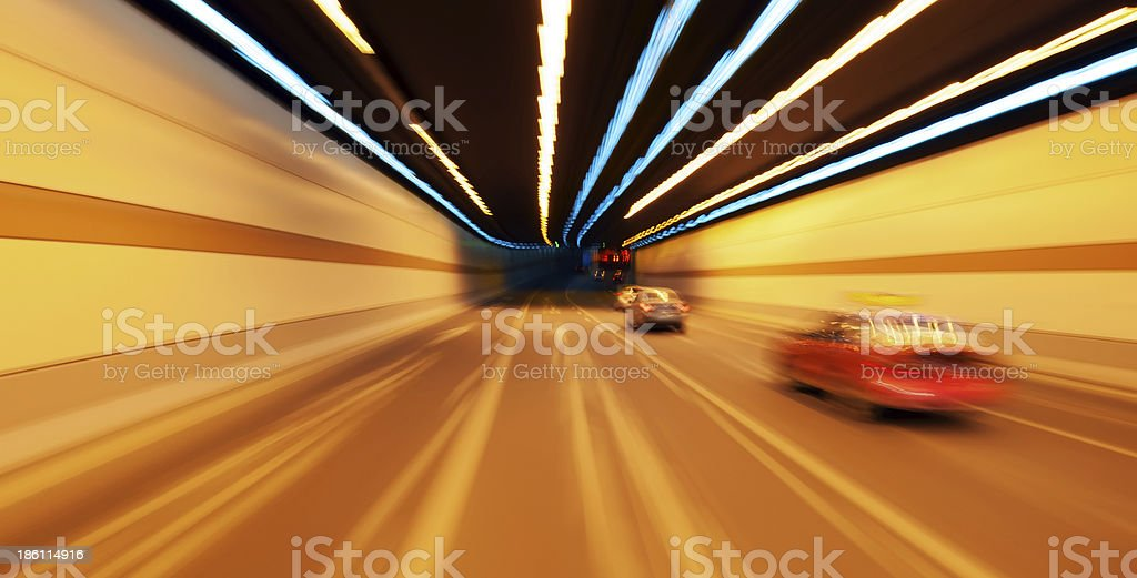 High-speed car in the tunnel stock photo