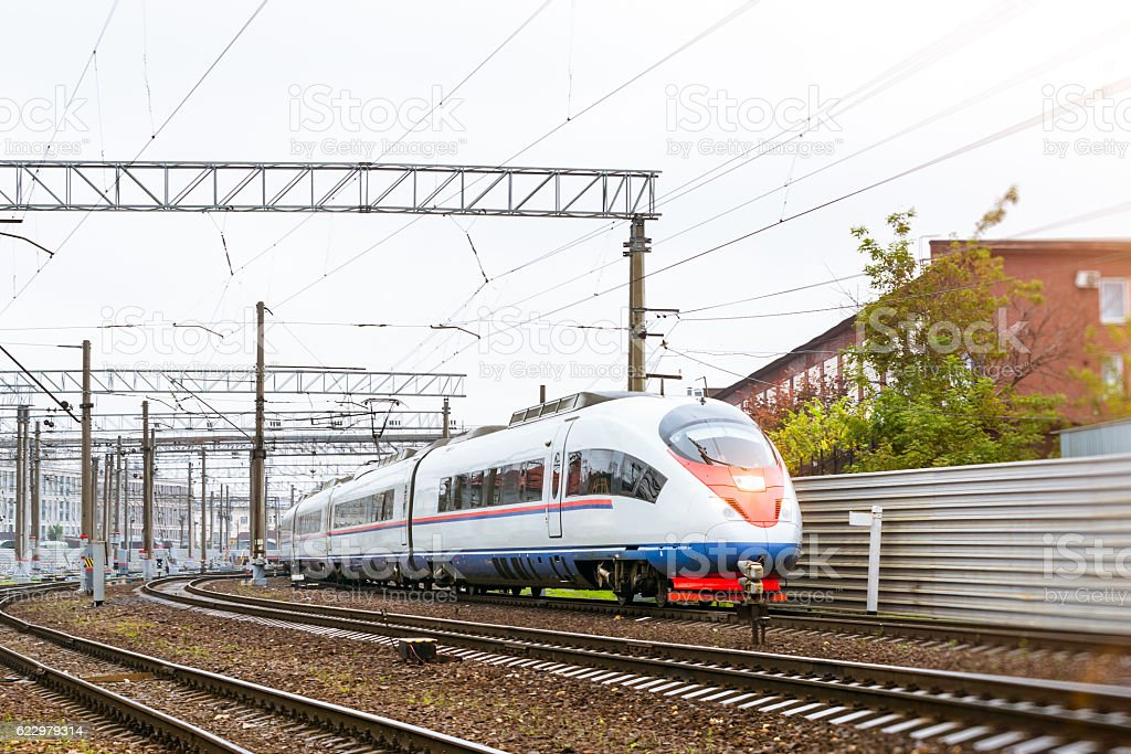 High-speed electric train. stock photo