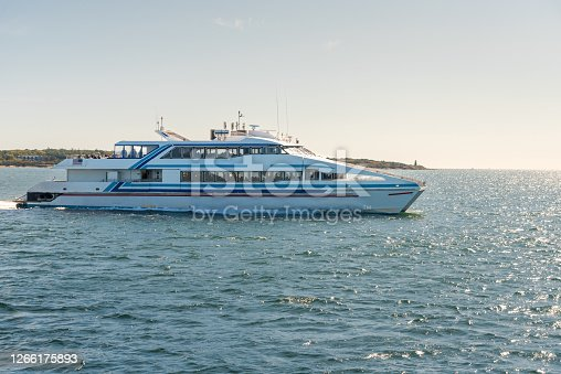 istock High-speed ferry in navigation on a clear autumn day 1266175893