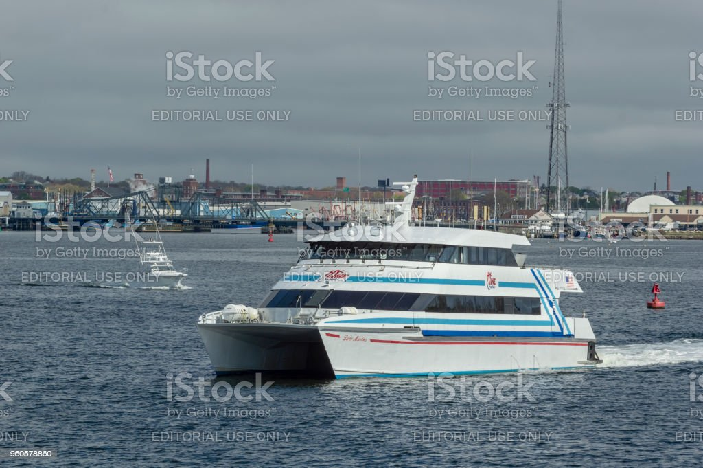 High-speed ferry Lady Martha leaving Fairhaven stock photo