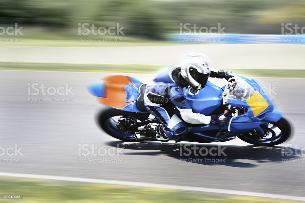Highspeed Motorbike Racer on Closed Track royalty-free stock photo