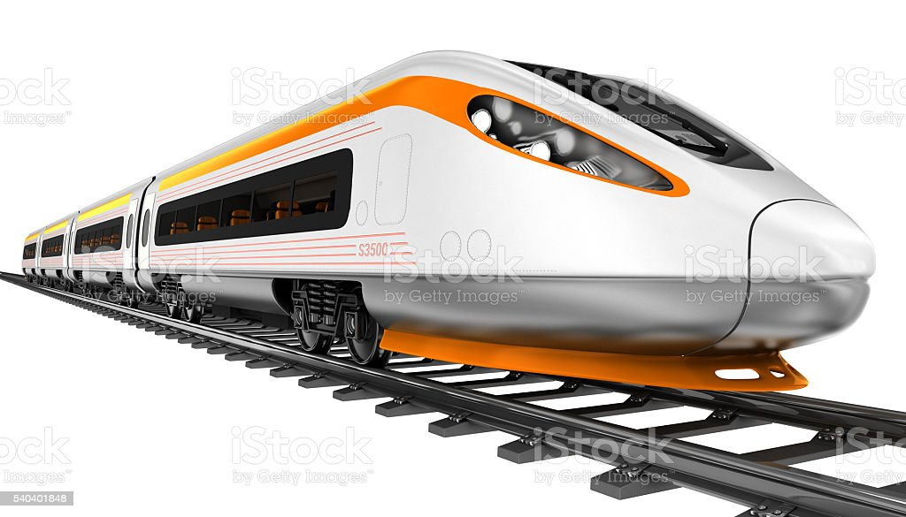 High-speed train. 3d illustration. stock photo