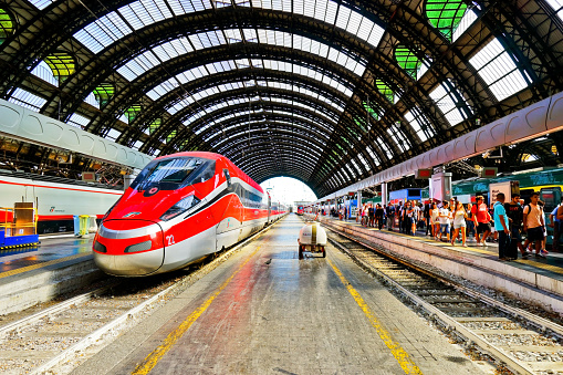 High-speed train at Milano Centrale railway station in Milan