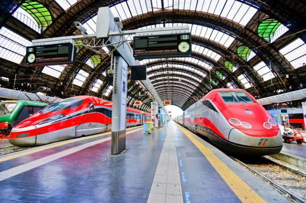 high-speed train at milano centrale railway station in milan - milan railway foto e immagini stock
