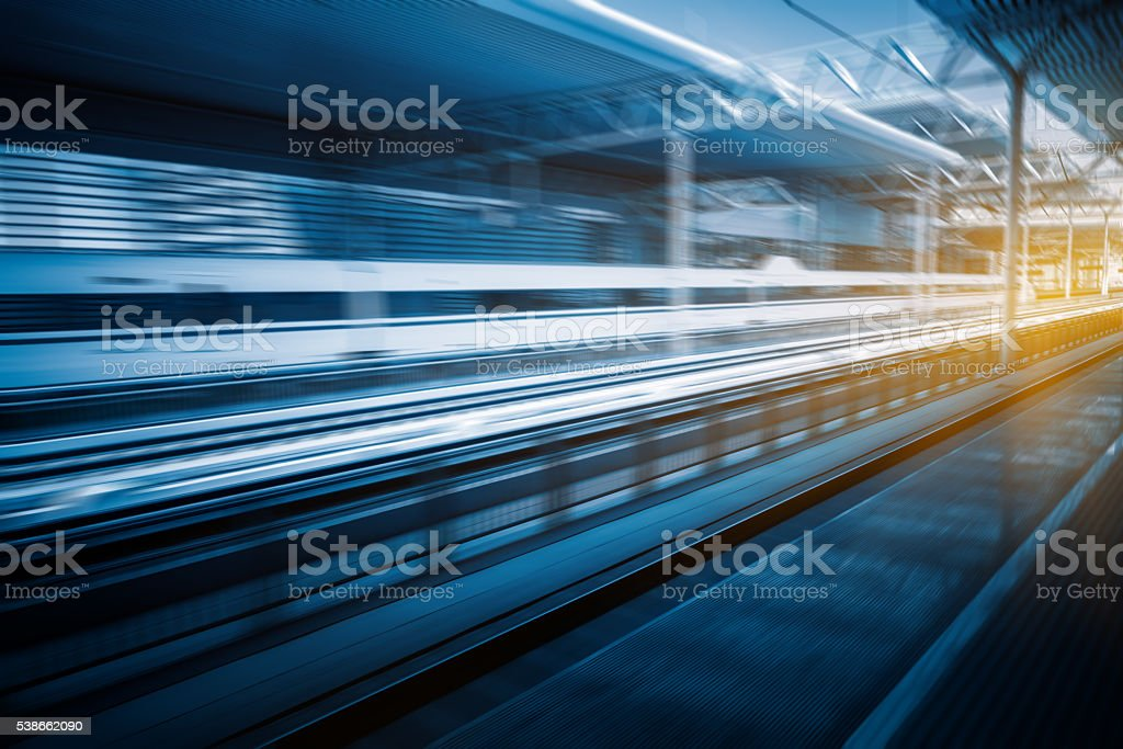 high-speed train at the railway station,motion blurred. stock photo