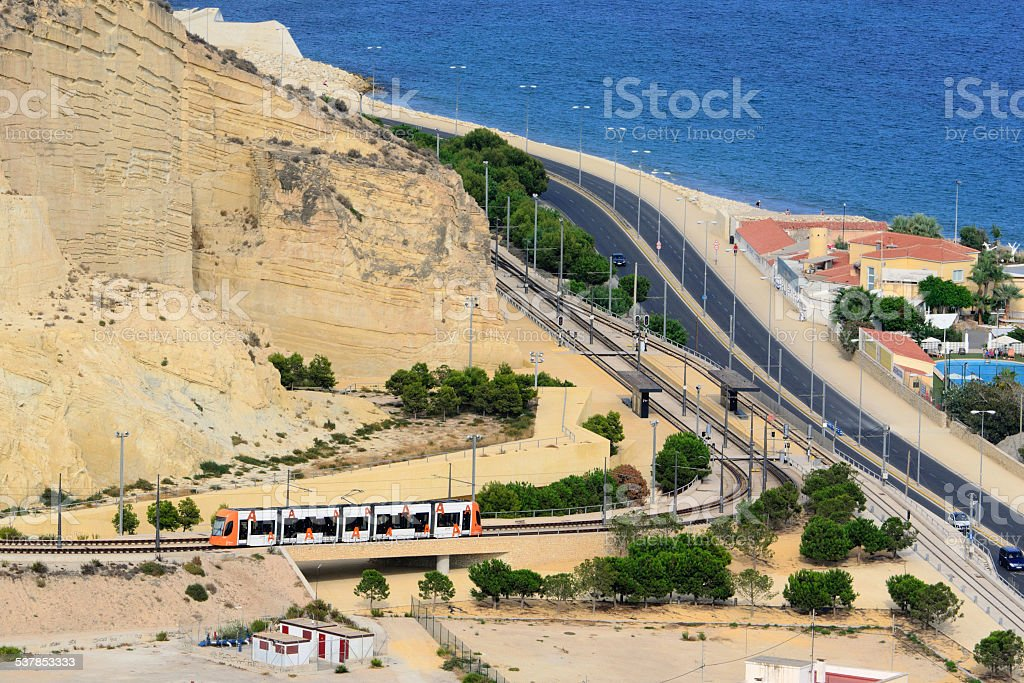 High-speed train high-speed train traveling by train along the coast. Alicante, Spain 2015 Stock Photo