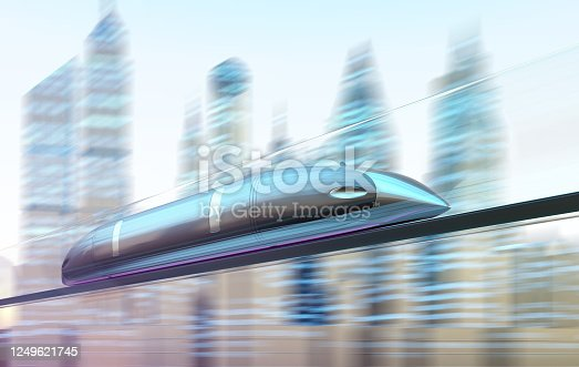 Magnetically levitating train at high speed with motion blur on the background of the city.