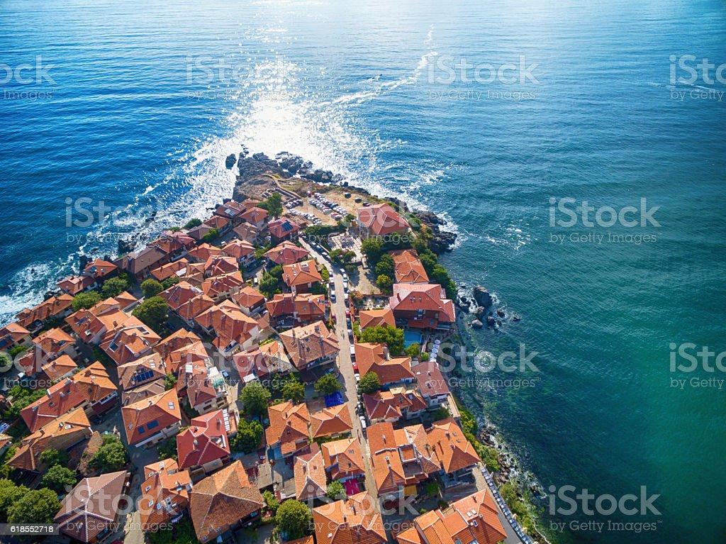 Hight angle view of Sozopol, Bulgaria stock photo