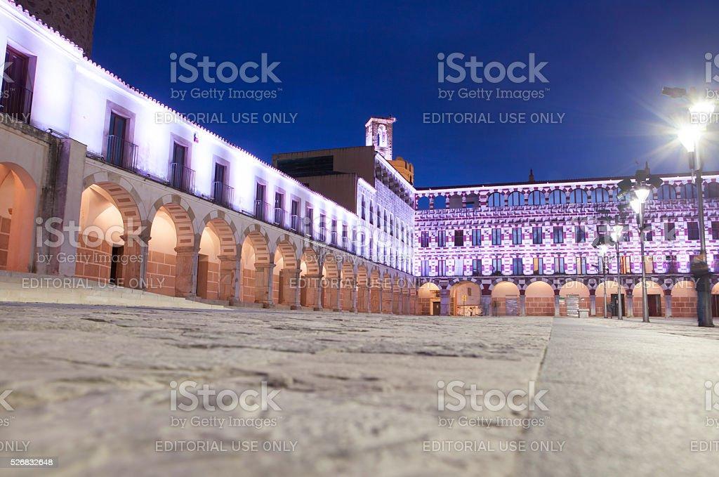 Hight square illuminated by led lights, Spain stock photo