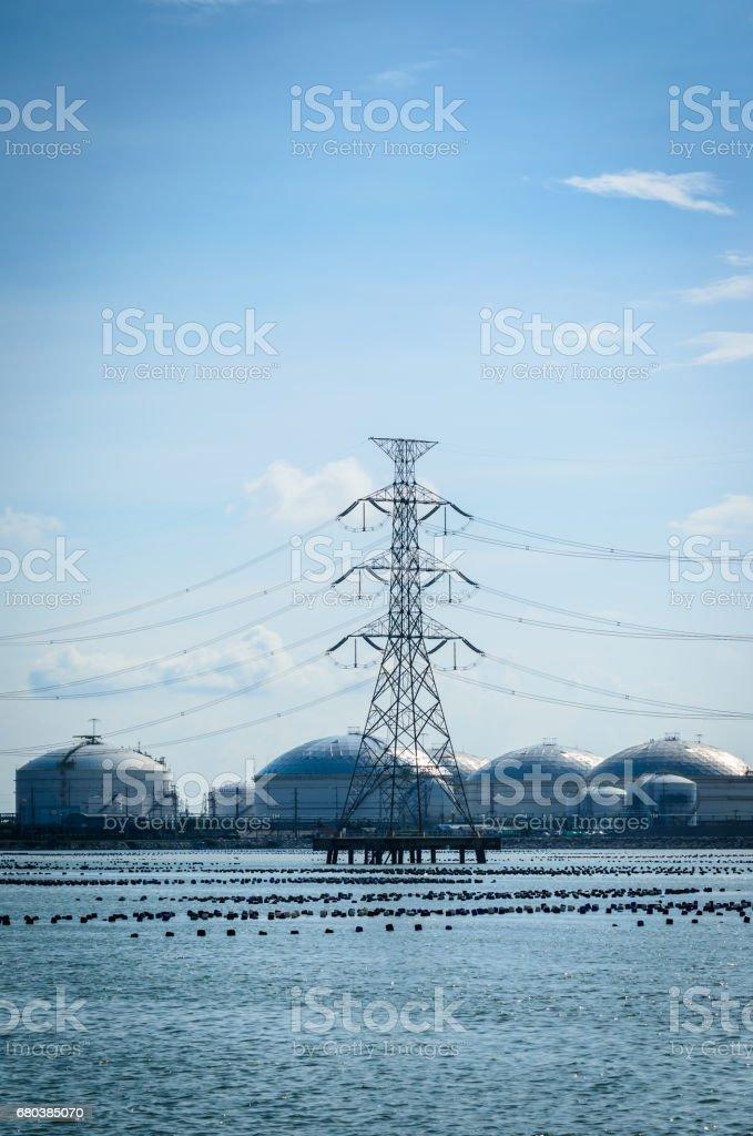 Hight voltage power pole royalty-free stock photo