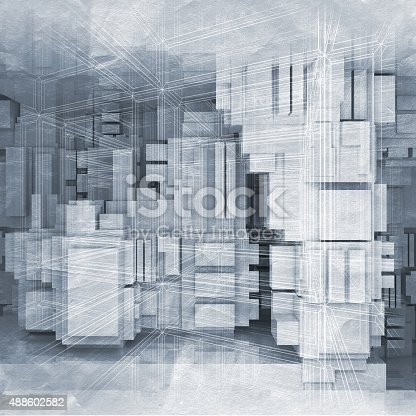 516688156istockphoto High-tech background with chaotic cubes 3d 488602582