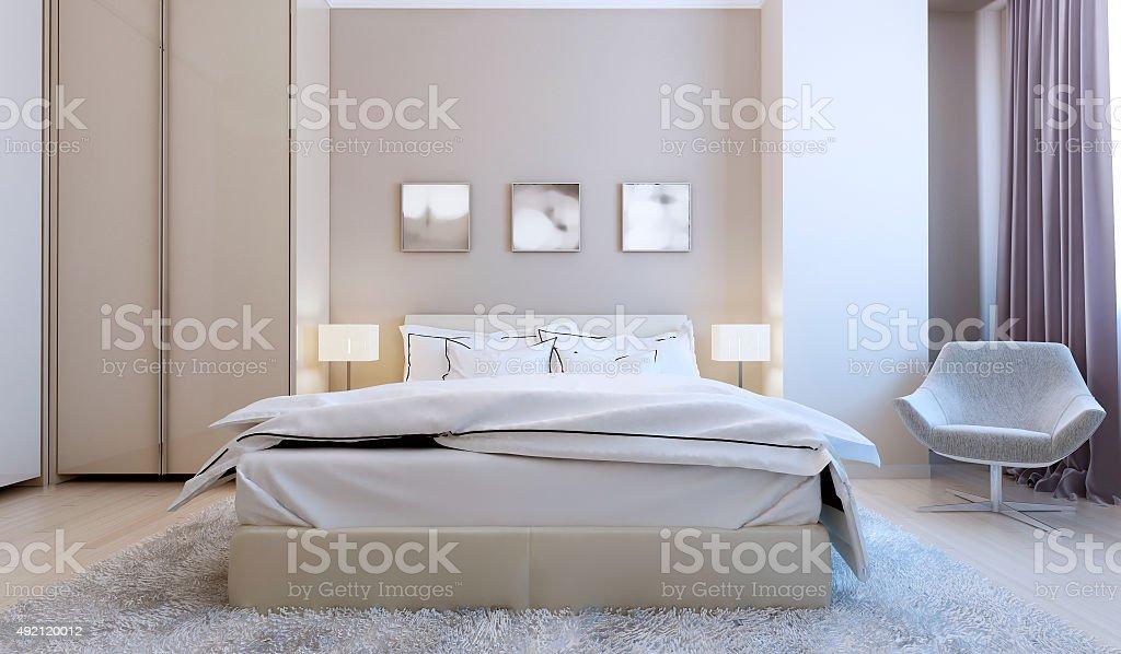 High-tech bedroom interior stock photo