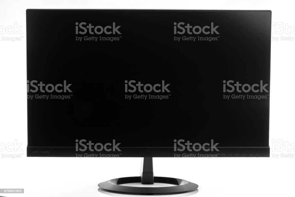 High-tech flatscreen computer display in landscape orientation isolated stock photo